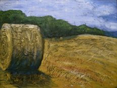 """Round Bale in Field, acrylic on canvas, 18"""" x 24"""", 2008 SOLD"""