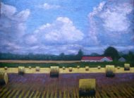 """Round Bales in the Sun and Shadow 2, acrylic on canvas, 30"""" x 40"""", 2008 SOLD"""