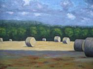 """Round Bales in the Sun and Shadow, acrylic on canvas, 24"""" x 36"""", 2008 SOLD"""