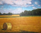 """Straw Bale in Field, acrylic on texturized canvas, 24 x 30"""", 2012"""