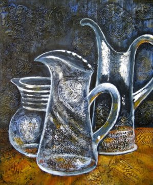 "Three Crystal Water Pitchers, acrylic on collaged fabrics and papers on canvas, 20"" x 24"", 2011"