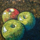 """Trio of Apples Squared, acrylic on texturized canvas, 24"""" x 24"""", 2009"""