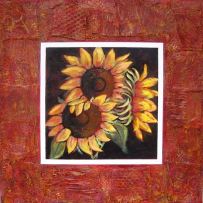 "Trio of Sunflowers, collaged frame, acrylic on texturized canvas, collaged frame: fabrics, papers, etc., 30"" x 30"", 2011"