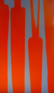 """Carrots, complementary colours, acrylic on canvas, 24"""" x 48"""", 2011"""