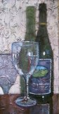 """Wine bottle and glass, acrylic on texturized canvas, 10"""" x 20"""", 2010"""