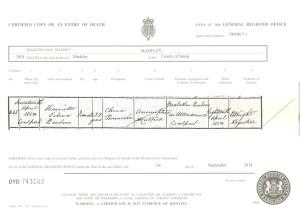 Death certificate of Henrietta Benbow 1854