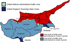 Cyprus divided, the red showing the Turkish zone.
