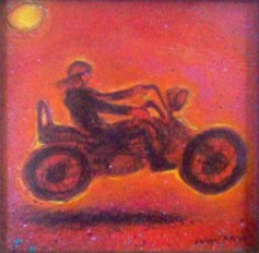Biker portrait, mixed media on board