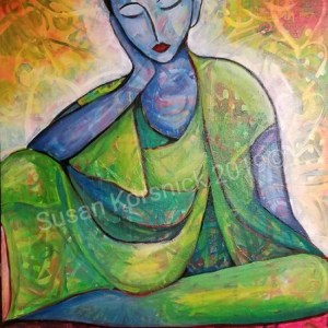 Surrender, print of woman in meditation, by Susan Korsnick