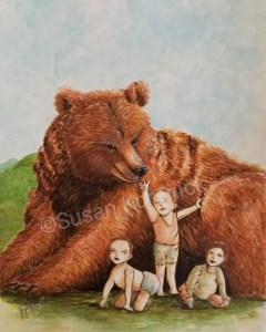 Mama Bear with Three Children, an illustration by Susan Korsnick