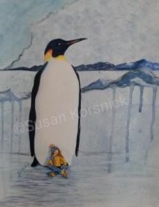 Emperor Penguin with Girl, illustration by Susan Korsnick