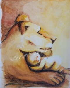 Lioness with Baby, Illustration by Susan Korsnick