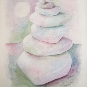 Balanced, a watercolor painting of a cairn in the moonlight, by Susan Korsnick