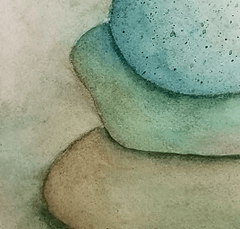 Another detail of Serenity, painting of a cairn on the beach, by Susan Korsnick