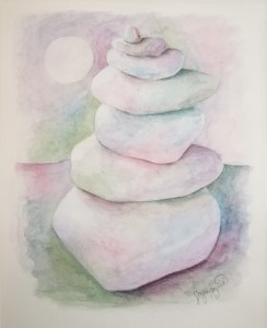 Balance, a watercolor painting of a cairn, by Susan Korsnick.