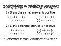 Integers and Order of Operations - SusanLeeSensei