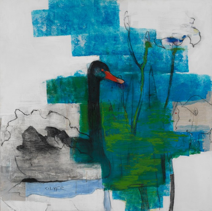 """Black swan"" olja/akryl 70x70cm, 2012"