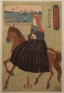 American lady riding sidesaddle in nineteenth-century Japan, as viewed by artist Yoshitori Utagawa in 1860. Care of the US Library of Congress.