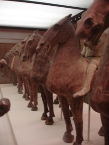 Western Han Dynasty (206 BC – AD 8) terracotta horses, photographed by author at National Museum of China, Beijing, by author.