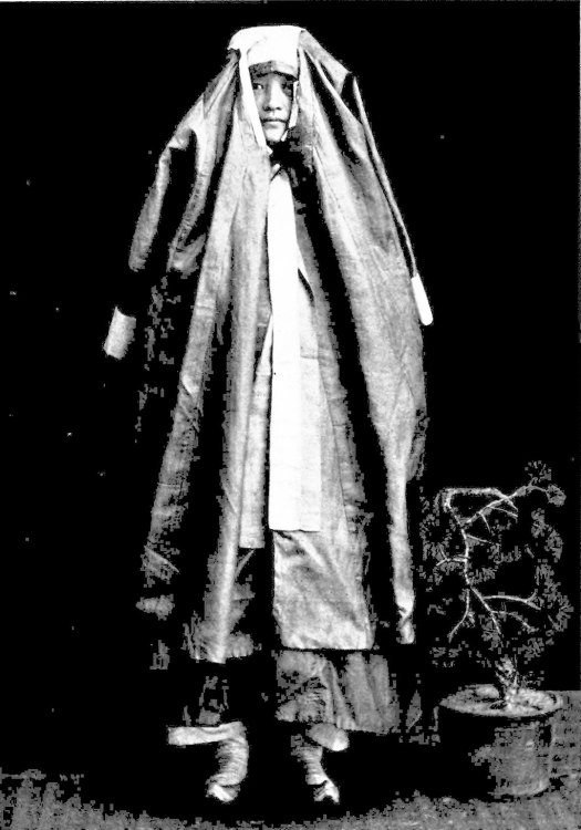 Korean women muffle themselves in a garment like a dress or great-coat whenever they go abroad.