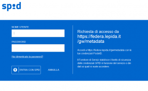 La pagina per il log in dell'Identià digitale