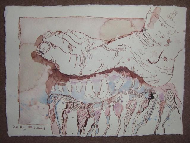 Agua mala wird zertreten - Zeichnung von Susanne Haun