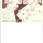 """""""An diesem Vormittag trat ihr in einem winzigen Zimmer mit vergitterten Fenstern ein kleiner, magerer Mann mit schwachem, dunklem Bart entgegen"""", 15 x 20 cm, Tusche auf Silberburg Büttenpapier (c) Zeichnung von Susanne Haun"""