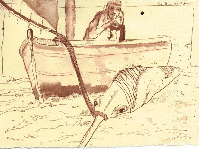 Er machte eine Schlinge um sein Schwert - Zeichnung von Susanne Haun