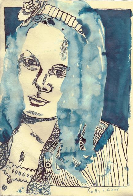 Frau mit Schleife - Zeichnung von Susanne Haun
