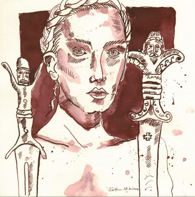 Frau des Unheils - Zeichnung von Susanne Haun