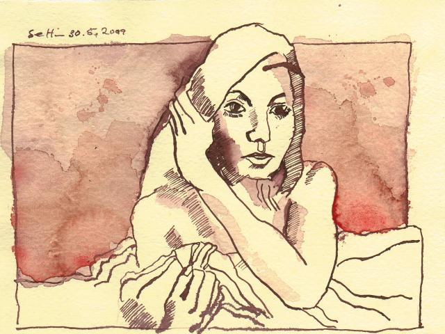 Vom Bett aus fernsehen - Zeichnung von Susanne Haun