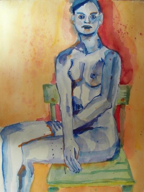 Sitzender Akt - Aquarell von Susanne Haun