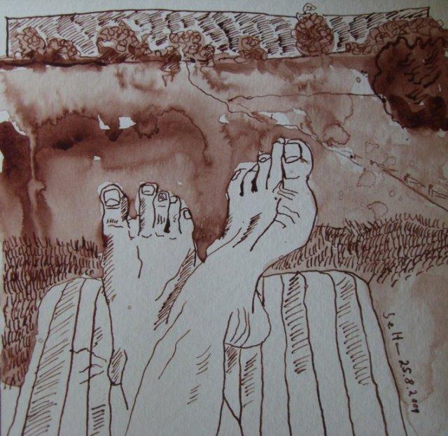 Blick nach Mustin - Zeichnung von Susanne Haun