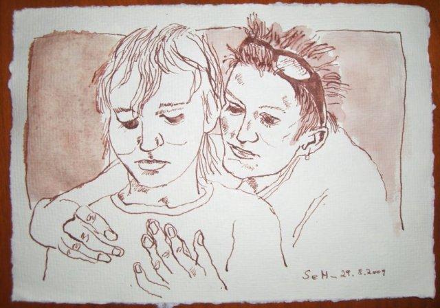 Leon und Annemarie Mattern - Zeichnung von Susanne Haun