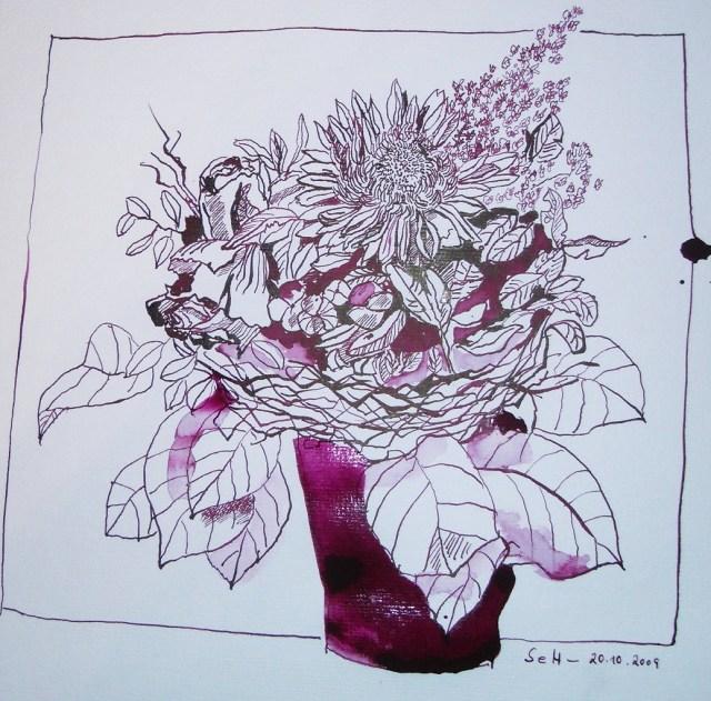 Biedermeier Strauß - Zeichnung von Susanne Haun