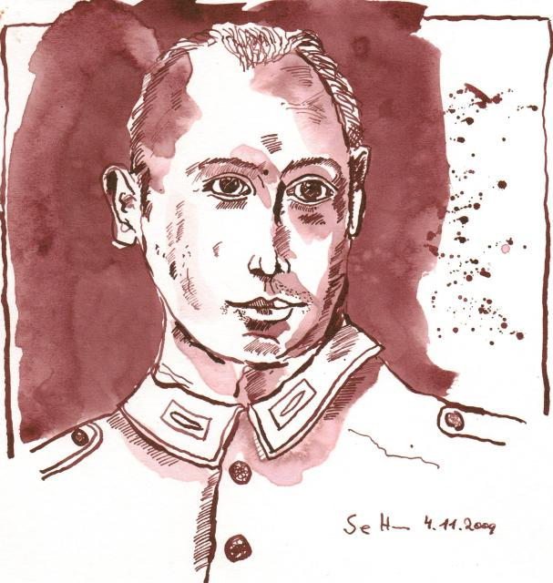 Daniels Großvater - Zeichnung von Susanne Haun - 20 x 20 cm - Tusche auf Bütten