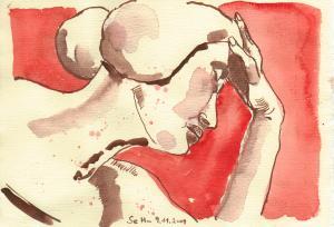 Engelsgesicht - Zeichnung von Susanne Haun - 15 x 20 cm - Tusche und Aquarell auf Bütten