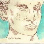 Engel französischer Friedhof II - Zeichnung von Susanne Haun - 15 x 20 cm - Tusche und Aquarell auf Bütten