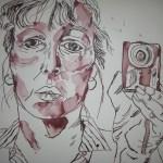 Selbst mit Fotoapparat - Zeichnung von Susanne Haun - Tusche auf Bütten - 30 x 40 cm