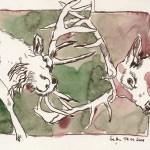 Kämpfende Hirsche Friuch und Rucht I - Zeichnung von Susanne Haun - 17 x 20 cm - Tusche und Aquarell auf Bütten