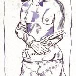 Akt in lila - Zeichnung von Susanne Haun - 23 x 15 cm, Tusche auf Bütten