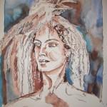 Vogelfrau - Zeichnung von Susanne Haun - 60 x 50 cm