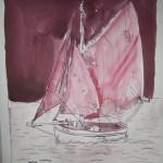 K-02 Boot - Zeichnung von Susanne Haun - 34 x 22 cm Tusche auf Bütten