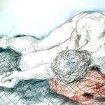 Mann liegend 1 - Zeichnung von Susanne Haun 1999 - Kohle auf Papier - A3