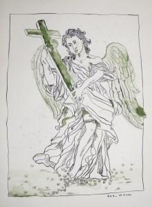 Engel mit Kreuz - Zeichnung von Susanne Haun - 40 x 30 cm - Tusche auf Bütten