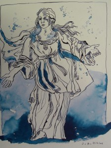 Maria - Zeichnung von Susanne Haun - 40 x 30 cm