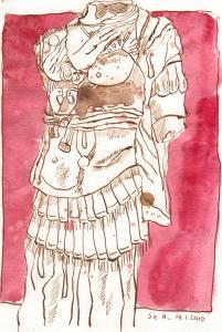 Römischer Torso - Zeichnung von Susanne Haun -20 x 15 cm - Tusche und Aquarell auf Bütten