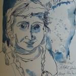 Mutter und Tochter - Zeichnung von Susanne Haun - 60 x 25 cm - Tusche auf Bütten