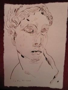 Unbekannte Schönheit - Zeichnung von Susanne Haun - 20 x 15 cm - Tusche auf Bütten