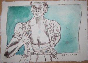 Im Dirndl - Zeichnung von Susanne Haun - 15 x 20 cm - Tusche und Aquarell auf Bütten